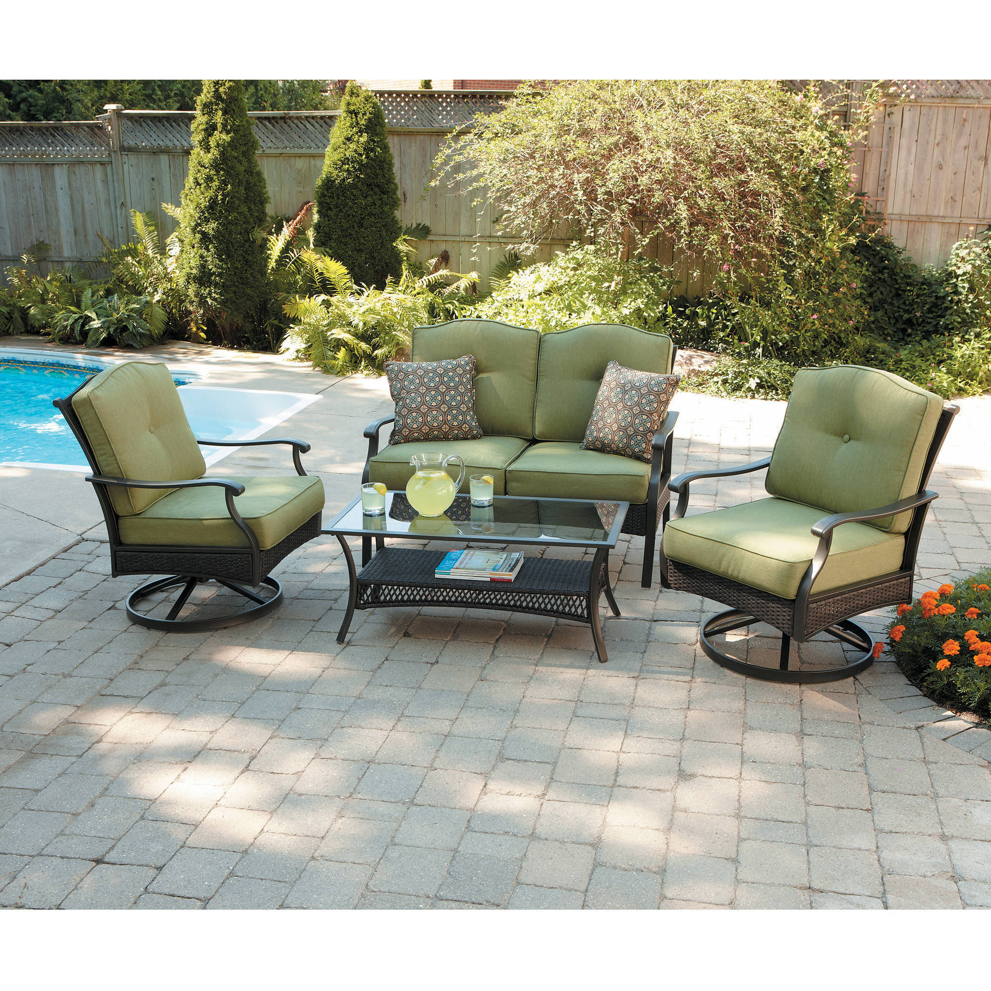 Better Homes and Gardens Providence 4-Piece Patio Conversation Set, Green