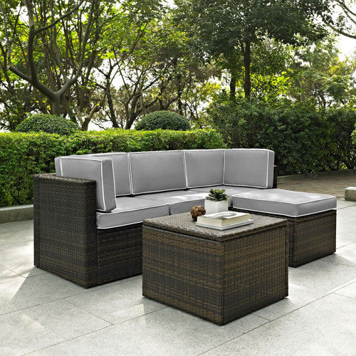 Crosley Furniture KO70011BR-GY Palm Harbor 5-Piece Resin Wicker Outdoor Sectional Seating... by Crosley Furniture