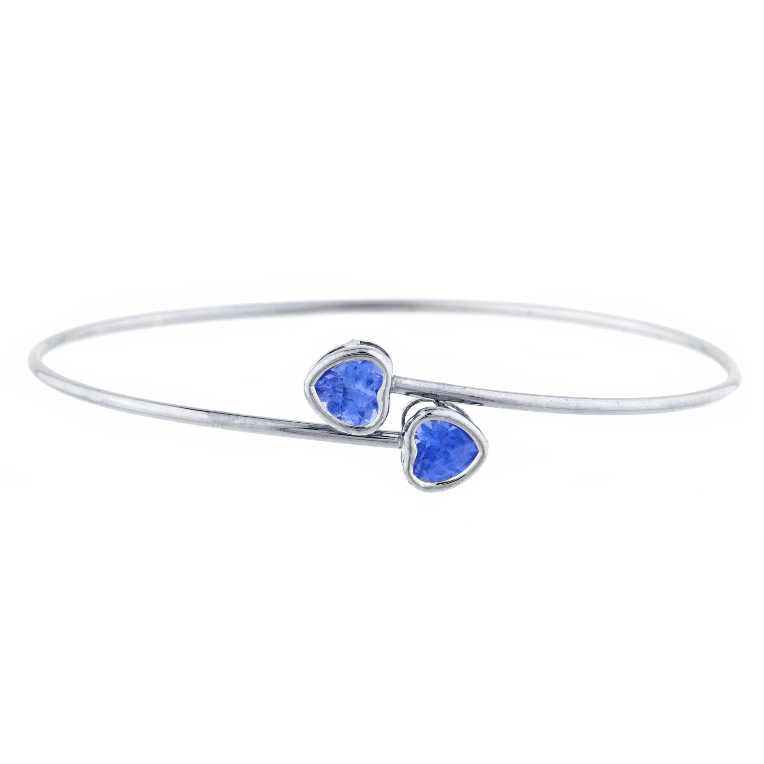 2 Ct Tanzanite Heart Bezel Bangle Bracelet .925 Sterling Silver by Elizabeth Jewelry Inc