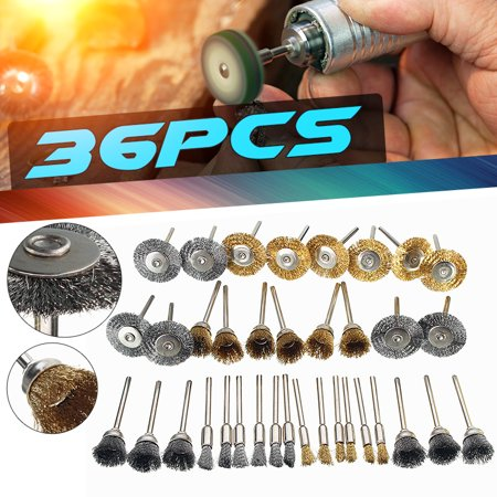 - 36Pcs/Set Brass Copper Steel Wire Brush Polishing Wheels For Rotary Tools