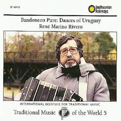 "Recorded in 1991 in Uruguay.  Contains 24 traditional Uruguayan dance pieces.  Includes an 80-page booklet.<BR>BANDONEAN PURE represents the 5th volume in Smithsonian's ""Traditional Music Of The World"" series.<BR>Rene Marino Rivero is an internationally acclaimed master of the bandonean, a square headed accordion."