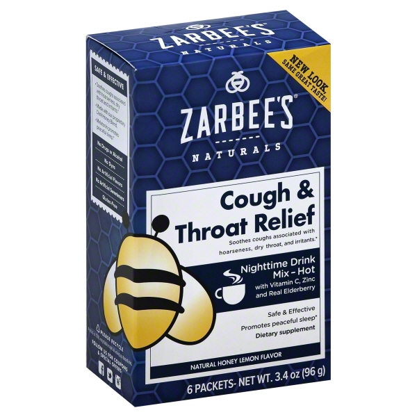 Zarbee's® Naturals Cough & Throat Relief Nighttime Drink Mix, Lemon 6 ct Box