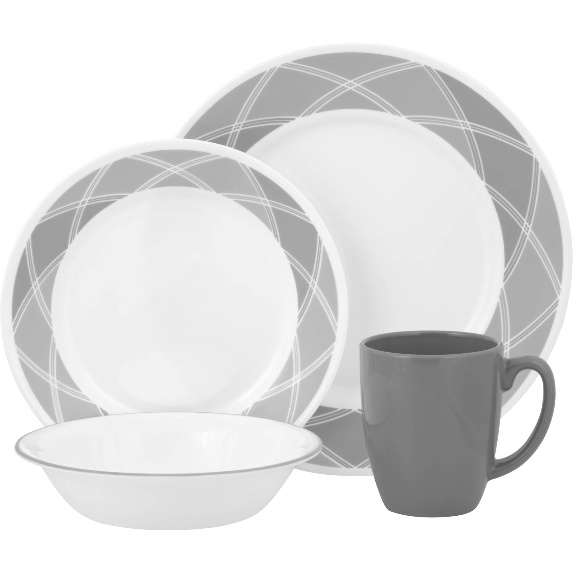 Corelle Vive 16-Piece Dinnerware Set, Savvy Shades Gray