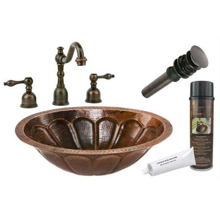 Premier Copper Products BSP2-LO19FSBDB 19 inch Copper Undermount Bathroom Sink with Sunburst Design Tru Widespread