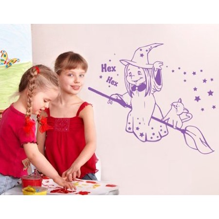 Halloween Witch with Broom Wall Decal - Wall Sticker, Vinyl Wall Art, Home Decor, Wall Mural - 2246 - 16in x 11in, - Halloween Face Paint Ideas White Witch