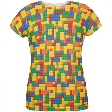 Halloween Building Blocks Costume All Over Womens T Shirt - Cock Block Costume
