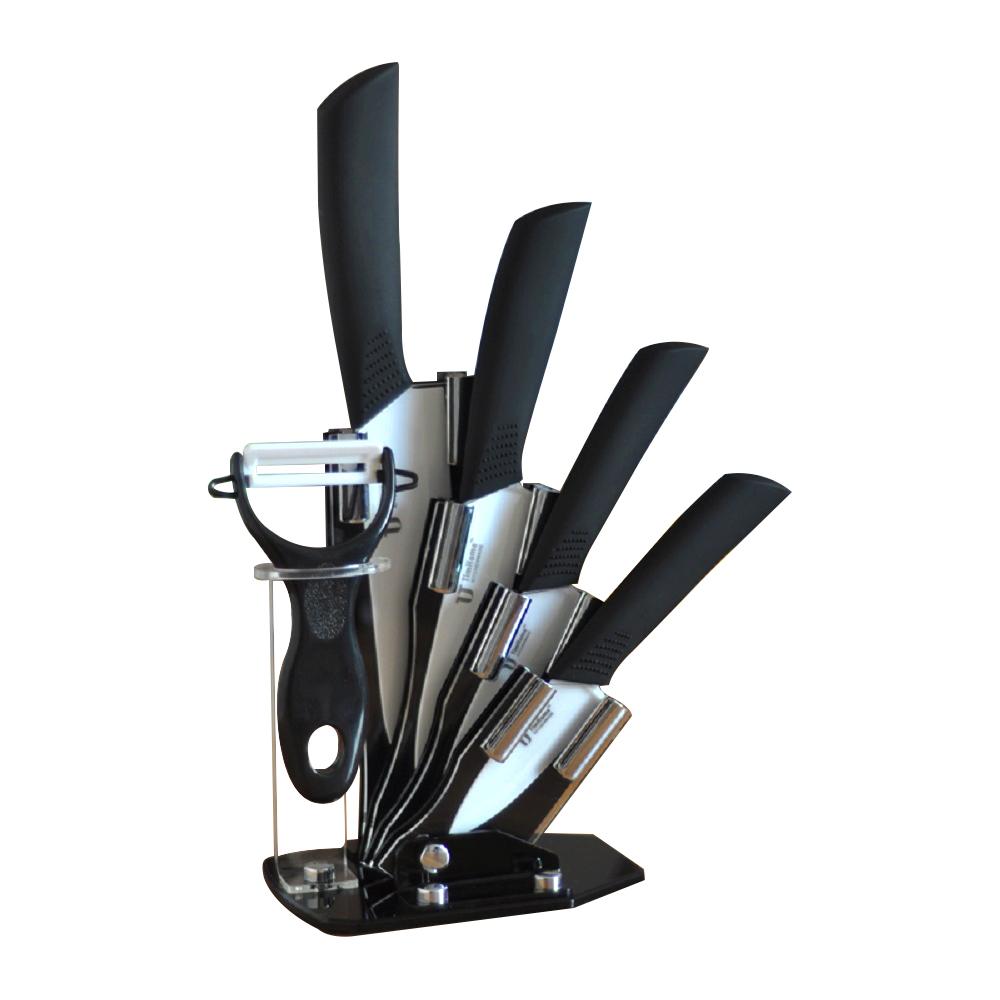"6 pcs Colored Knives Set – Chef Knife, Paring Knife, Peeling Knife, Utility Knife, 6""X2.5""X1"" Peeler, Stand - Vibrant Stylish Kitchen Knives Cutlery Sets (TJC-036-BK)"