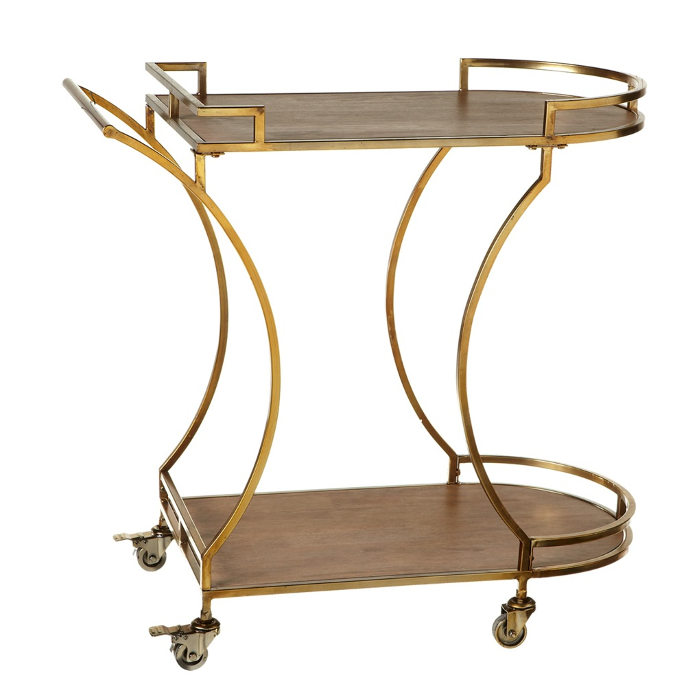 """32"""" Brown and Gold Iron Two-Tiered Serving Cart with Wheels and Wood Top"""