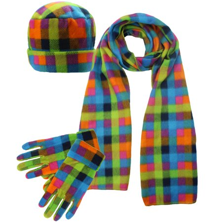 Fleece Hat Scarf (Plaid Fleece 3 Piece Hat Scarf & Glove Set )
