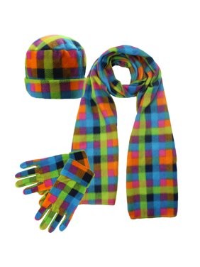 Green Plaid Fleece 3 Piece Hat Scarf & Glove Set