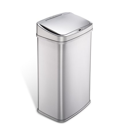 Nine Stars Motion Sensor Touchless 13.2 Gal Trash Can, Stainless Steel with Silver Trim