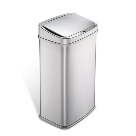NineStars Motion Sensor Touchless 13.2 Gal Trash Can, Stainless Steel with Silver Trim