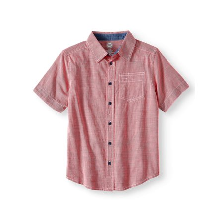 Wonder Nation Short Sleeve Textured Button-Up Shirt (Little Boys, Big Boys, & Husky)