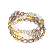 Gray Imitation Pearl Cubic Zirconia Designer Coil Gold-tone Bracelet