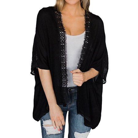 711ONLINESTORE Women Elbow-length Sleeve Floral Lace Crochet Kimono Cardigan