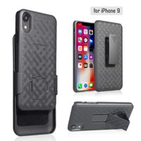 Apple iPhone Xs Max 2018 Case Case Belt Clip Holster Cover Rubberized [Kickstand] Phone Case - Black