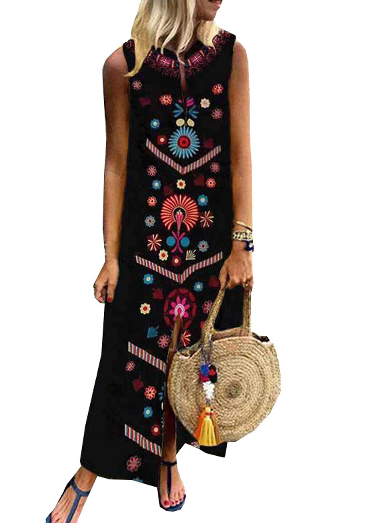 LALLC - Plus Size Womens Sleeveless Boho Print Dresses Summer Beach Maxi  Dress Kaftan - Walmart.com