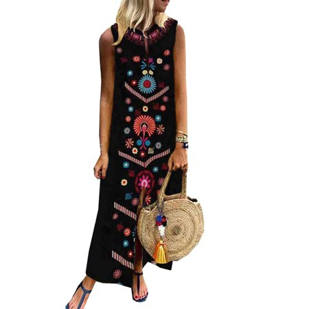 Plus Size Womens Sleeveless Boho Print Dresses Summer Beach Maxi Dress (Maxi Kaftan)