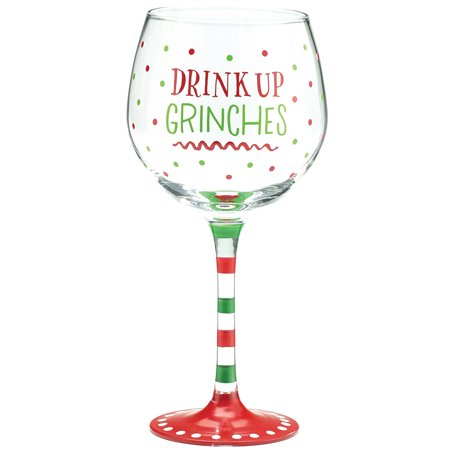 Drink Up Grinches Wine Glass Festive Christmas Holiday Party Drinkware 20 Oz - Festive Halloween Drink Recipes