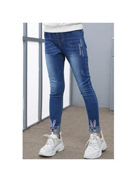 Kids Girls Relax Fit Printed Hems Adorable jeans.