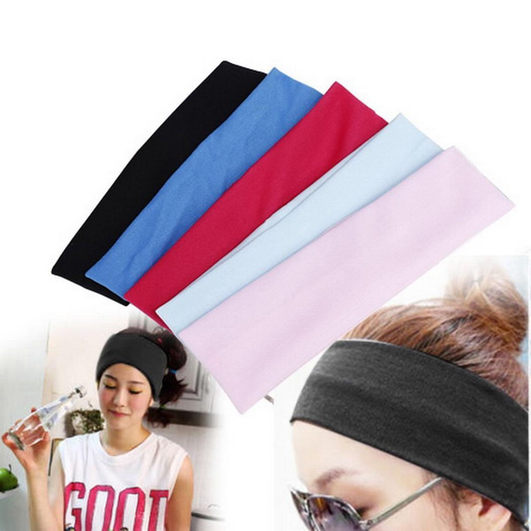 Women Elastic Solid Wide Stretch Headband Wrap Yoga Running Head Band Sports