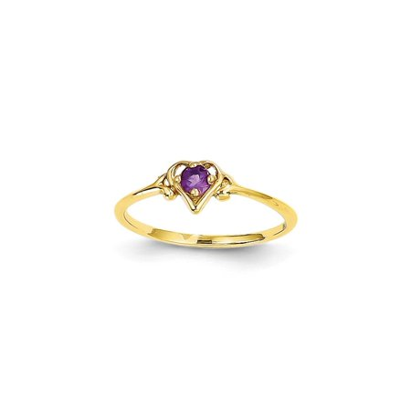 Solid 14k Yellow Gold Simulated Amethyst Simulated Birthstone Heart Ring (1mm) - Size -