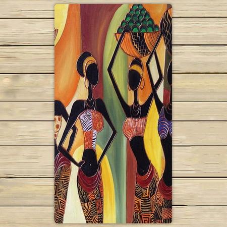 GCKG Afro American Women Hand Towel,Spa Towel,Beach Bath Towels,Bathroom Body Shower Towel Bath Wrap Size 30x56