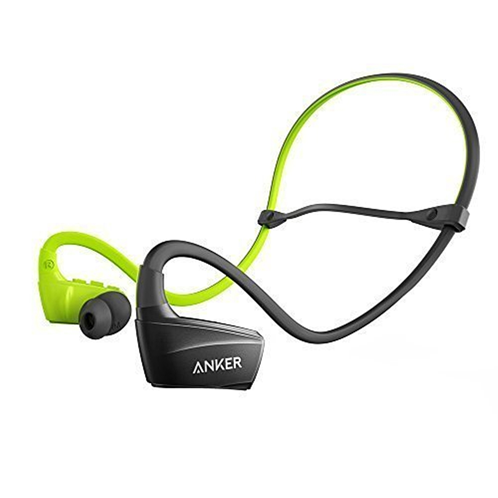 Anker SoundBuds Bluetooth In-Ear Earbuds, Secure Fit Sport Sweatproof Wireless Headphones with Enhanced Bass for Work Out, Running, BMX, and Boxing, Black (New Open Box)