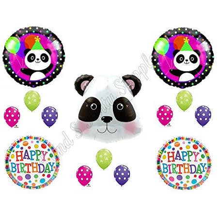 PANDA-MONIUM Happy Birthday Balloons Decoration Supplies Party Children Girl Zoo pink for $<!---->
