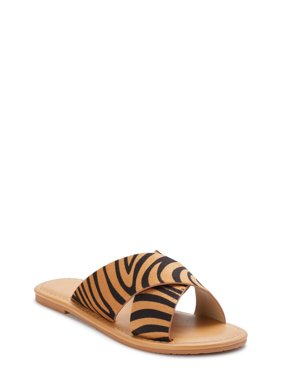 Melrose Ave Vegan Animal Print Crossband Flat Slide Sandal (Women's)