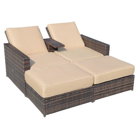 Outsunny Rattan Wicker 3 Piece Lounge Patio Loveseat Set