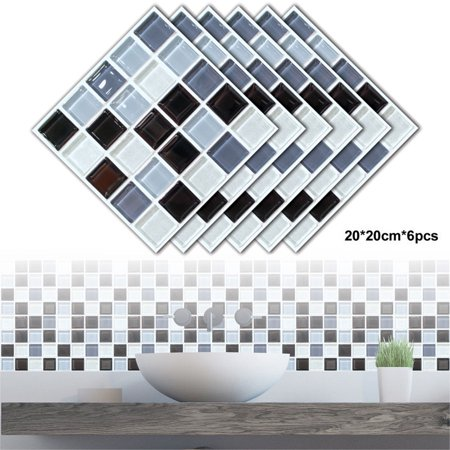 6 Pcs Self-Adhesive Square Peel and Stick Non-Slip Waterproof Removable PVC Bathroom Kitchen Home Decor Floor Wall Stair Tile Sticker
