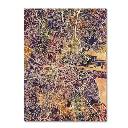 Trademark Fine Art Dublin Ireland City Map Ii Canvas Art By Michael Tompsett