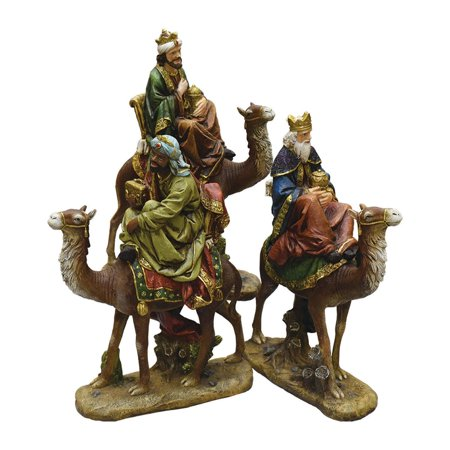 3-Piece Religious Three Kings on Animals Christmas Nativity Table Top Figurines 18