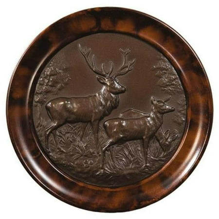 Plaque MOUNTAIN Rustic Deer Mates Stag Doe Resin New Hand-Painted Carved  OK-747 (Hand Carved Deer)
