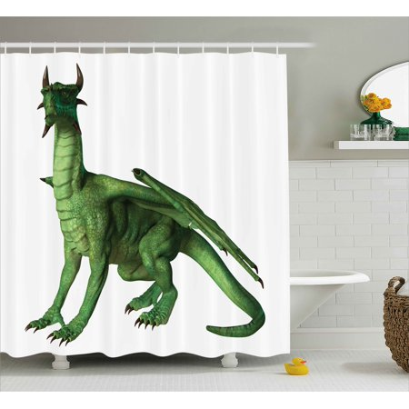 Kids Decor Shower Curtain Ugly But Cute Dragon Standing