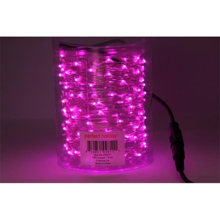 Perfect Holiday 100 LED 32ft Copper String Light - Pink