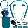 Sony h.ear in Wireless Bluetooth In-Ear Headphones ,Blue (MDREX750BT/L) + Headphone Cable, USB Cable w/Charger Wall Adapter + 4 Sizes Earbuds + Carrying Pouch + HeroFiber Ultra Gentle Cleaning Cloth This Bundle Includes: Sony h.ear in Wireless Bluetooth In-Ear Headphones (Viridian Blue), 4 x Pairs of Hybrid Earbuds (SS, S, M, and L), Carrying pouch, Clip, Dedicated headphone cable, USB Cable, Wall Adapter Charger, HeroFiber® Ultra Gentle Cleaning Cloth & Operating InstructionsRich, dynamic sound, premium materials and finishes, and not a cable in sightEasy Bluetooth connectivity with NFC One-touchClear hands-free calling with built-in microphone and HD voice support . Up to 7.5 hours of battery lifeLightweight, behind–the–neck design, Headphones are so comfortable you'll forget you're wearing them