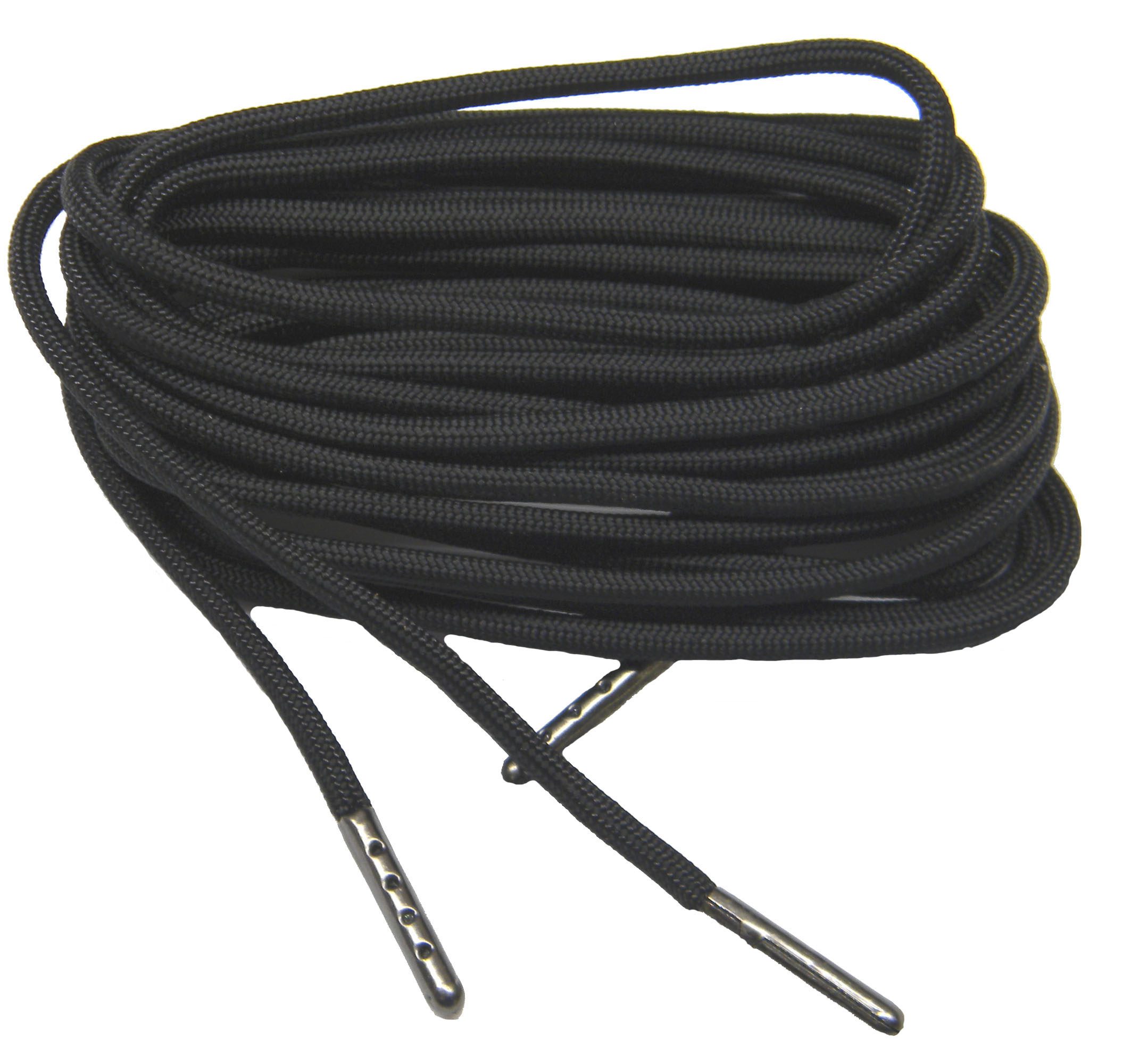63 Inch 160 cm Black 550 Paracord with Black Steel Tips; 2 Pair pack of the Strongest shoelaces boot laces Available