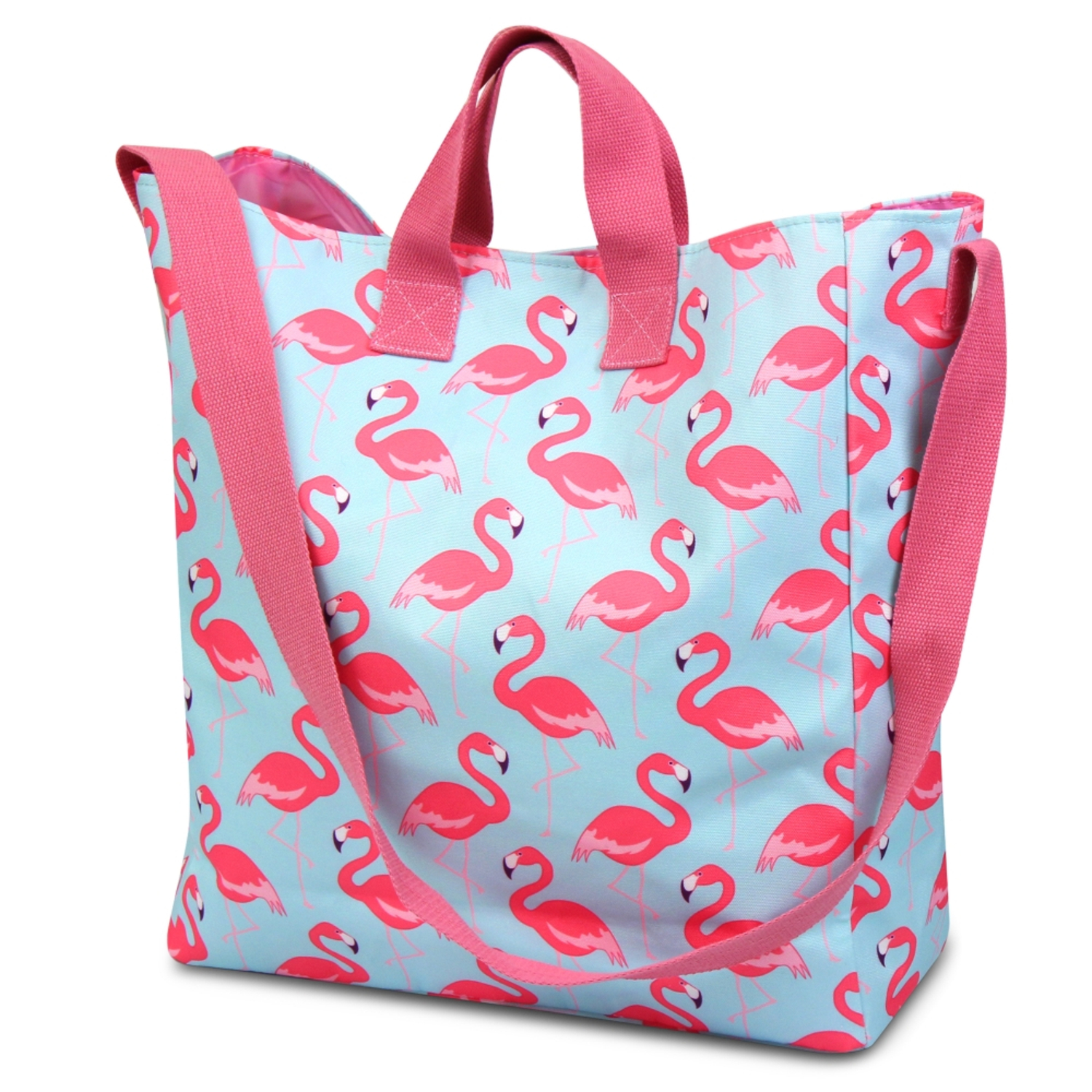 Zodaca Women Tote Carry Bag Handbag Crossbody Shoulder Messenger Bag for School Traveling Grocery Shopping - Pink Flamingo
