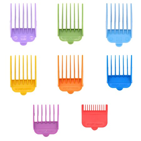 Professional Hair Clipper Guide Combs,Wahl replacement guards Set,8 Color and Sizes Attachment Guide Comb,Great Fits for All Full Size Wahl Clippers/TrimmersGreat Wahl Attachment Guide
