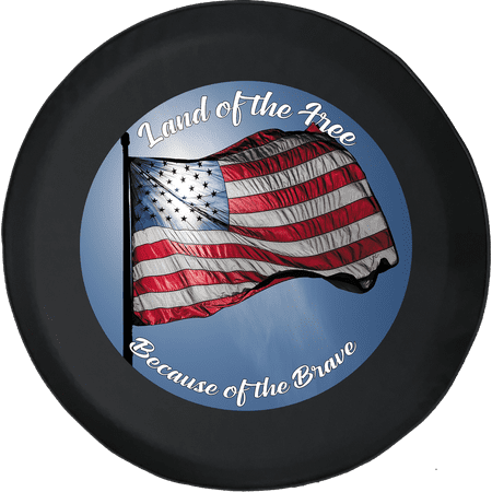Land of the Free Brave American Flag Waving Spare Tire Cover fits Jeep RV & More 28 Inch Designer Tire Cover Flag