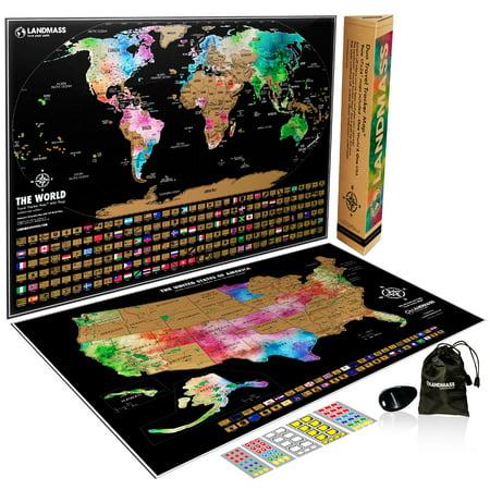 Landmass Scratch Off Map of The World Poster + Scratch Off Map of The United States - Two 24x17