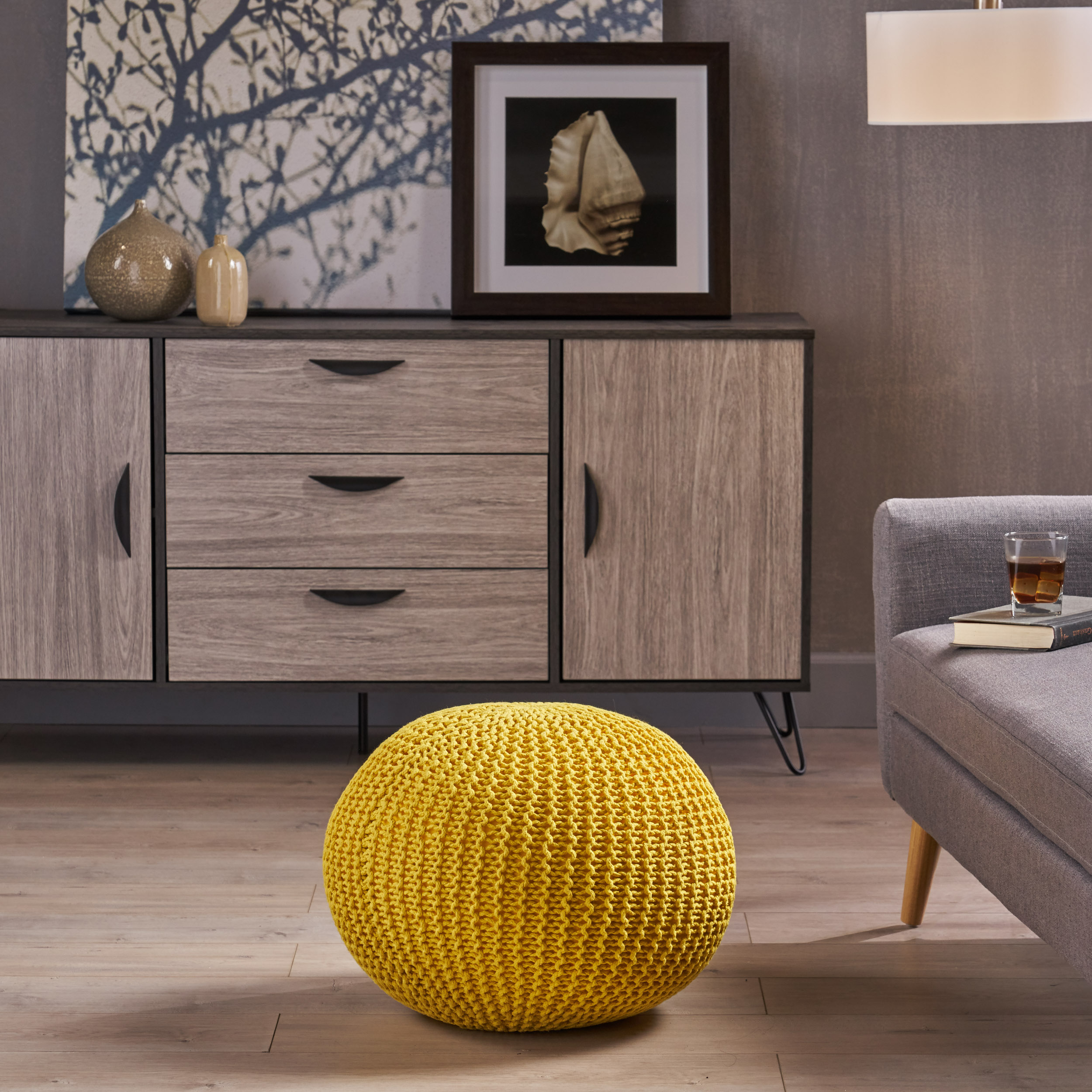 Noble House Arbor Knitted Cotton Pouf, Yellow