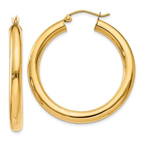 10k Yellow Gold Polished 4mm x 35mm Tube Hoop Earrings