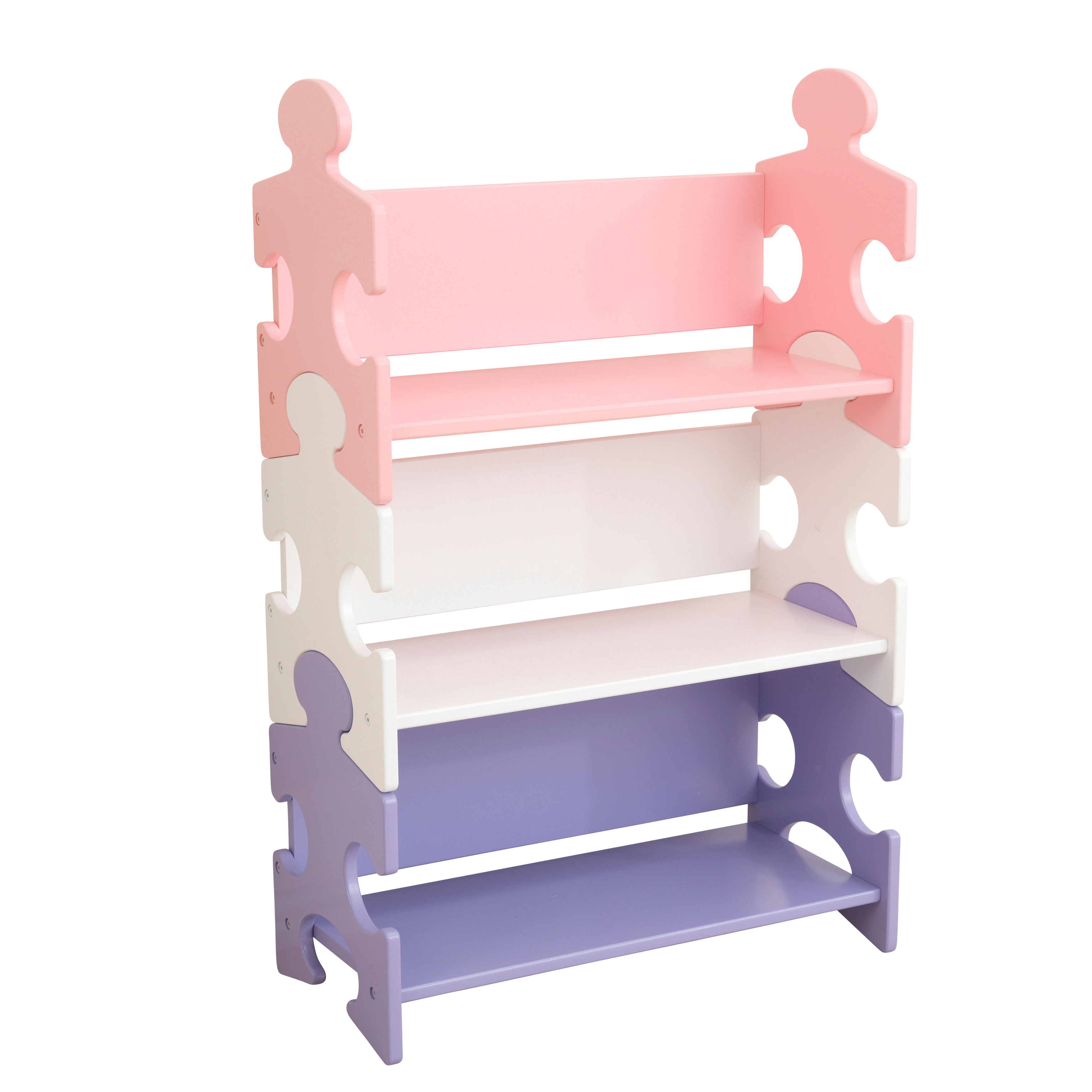 KidKraft Puzzle Bookshelf, Red/Blue/Green or Purple/White/Pink