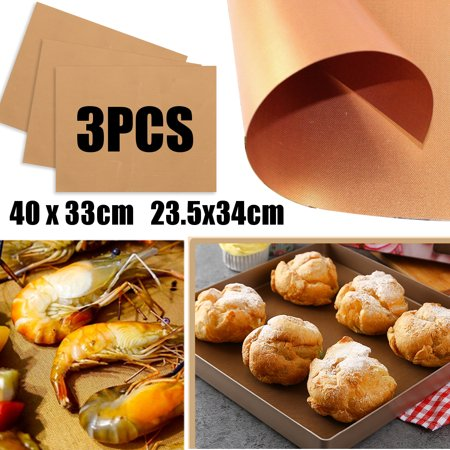 3Pcs Copper BBQ Grill Mat and Bake Mat Non Stick Gold Grill & Baking Mats Reusable Easy to Clean for Gas, Charcoal, Electric Grills Hasty Bake Bbq