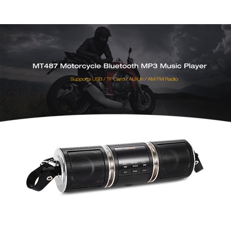 Wireless Motorcycle Stereo Speakers Handlebar Mount MP3 Radio Player Audio Amplifier System Scooter Bike ATV UTV Jet Ski, AUX IN, USB, microSD, FM