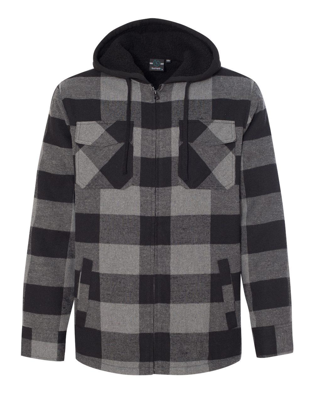 Burnside Men's Quilted Flannel Full-Zip Hooded Jacket, Style 8620