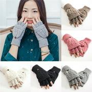 SUPERHOMUSE Half Fingerless Gloves Convertible Flip Knitted Artificial Wool Mitten Winter Warm Hand Gloves